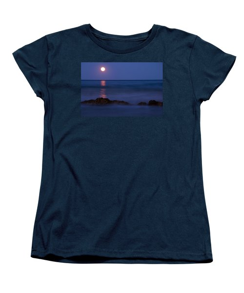 Wells Beach Maine Moonrise Women's T-Shirt (Standard Cut) by Glenn Gordon