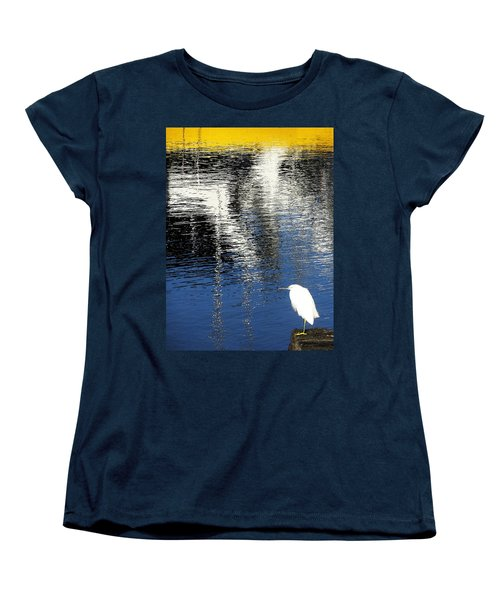 Women's T-Shirt (Standard Cut) featuring the digital art White Egret On Dock With Colorful Reflections by Anne Mott