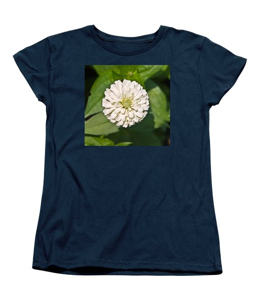 Women's T-Shirt (Standard Cut) featuring the photograph White Zinnia And Green Leaves by Susan Leggett