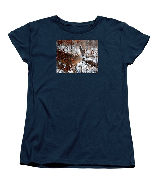 Women's T-Shirt (Standard Cut) featuring the photograph Whitetail Deer In Snow by Nava Thompson