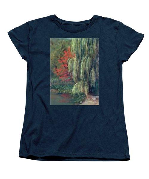 Women's T-Shirt (Standard Cut) featuring the drawing Willow Tree - Hidden Lake Gardens -tipton Michigan by Yoshiko Mishina