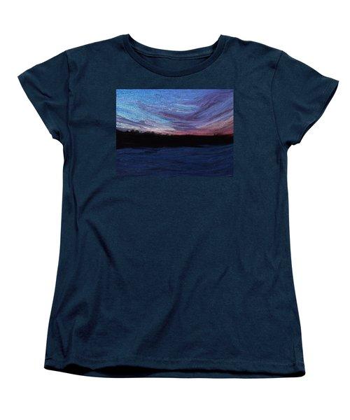 Women's T-Shirt (Standard Cut) featuring the digital art Winter Sunset by Lauren Radke