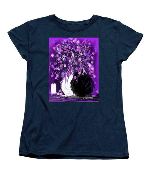Flower Art Love Purple Flowers  Love Pink Flowers Women's T-Shirt (Standard Cut) by Sherri's Of Palm Springs
