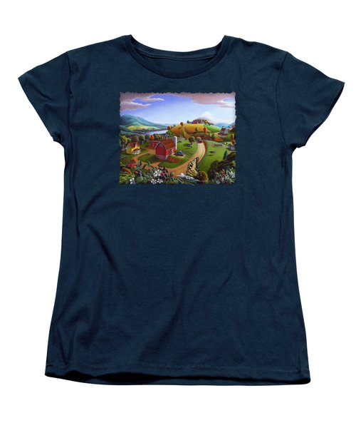 Folk Art Blackberry Patch Rural Country Farm Landscape Painting - Blackberries Rustic Americana Women's T-Shirt (Standard Cut) by Walt Curlee