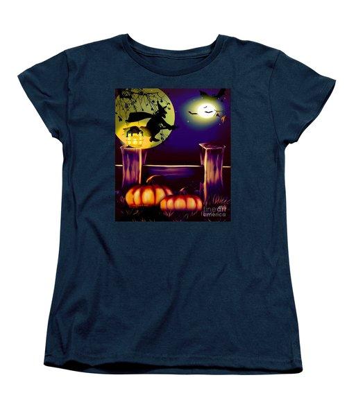 Halloween Witches Moon Bats And Pumpkins Women's T-Shirt (Standard Cut)