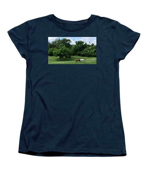 Women's T-Shirt (Standard Cut) featuring the photograph  Mr. And Mrs. Horse - No. 195 by Joe Finney