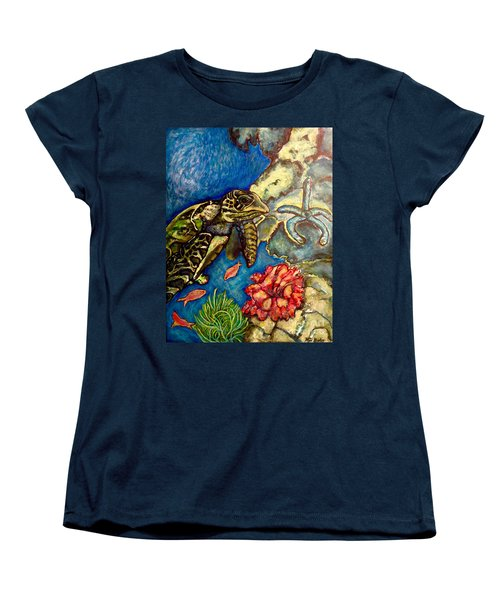 Women's T-Shirt (Standard Cut) featuring the painting  Sweet Mystery Of The Sea A Hawksbill Sea Turtle Coasting In The Coral Reefs Original by Kimberlee Baxter