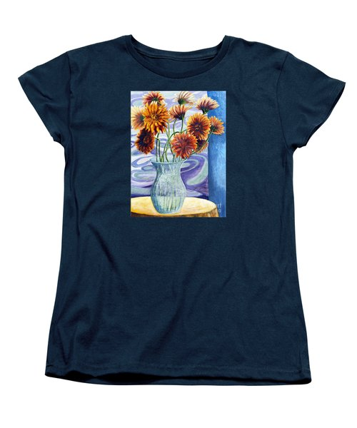 01305 Orange African Daisies Women's T-Shirt (Standard Cut) by AnneKarin Glass