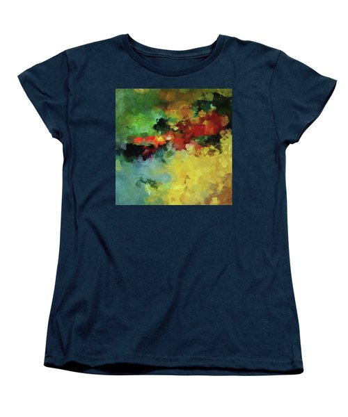 Women's T-Shirt (Standard Cut) featuring the painting Abstract And Minimalist  Landscape Painting by Ayse Deniz