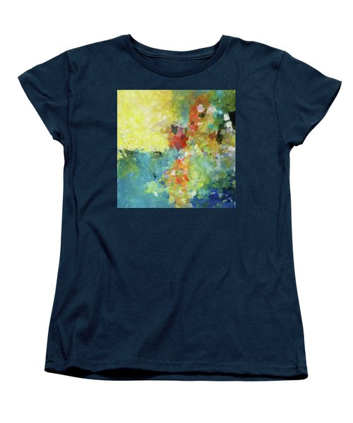 Women's T-Shirt (Standard Cut) featuring the painting Abstract Seascape Painting by Ayse Deniz