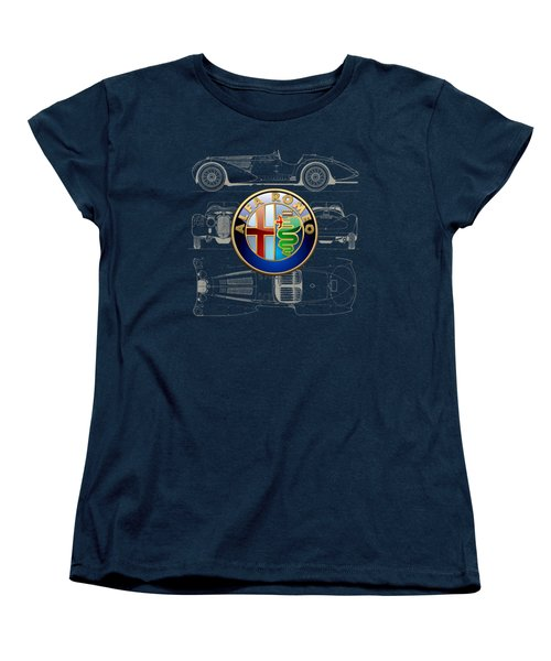 Alfa Romeo 3 D Badge Over 1938 Alfa Romeo 8 C 2900 B Vintage Blueprint Women's T-Shirt (Standard Cut) by Serge Averbukh