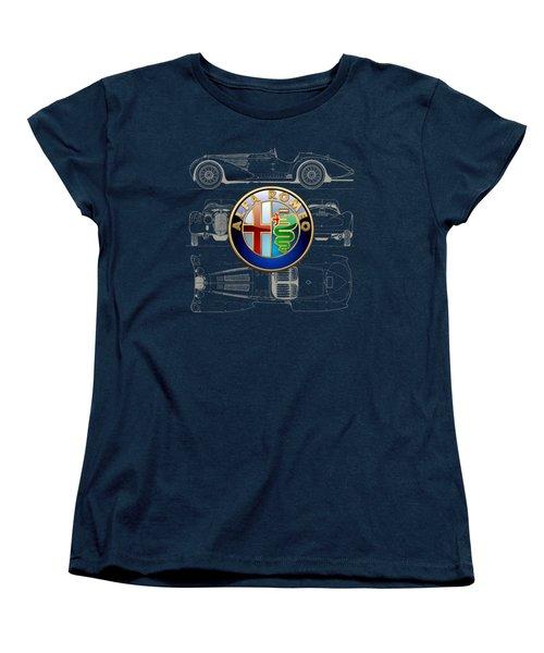 Alfa Romeo 3 D Badge Over 1938 Alfa Romeo 8 C 2900 B Vintage Blueprint Women's T-Shirt (Standard Cut)