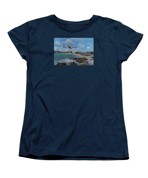 American Airlines Landing At St. Maarten Women's T-Shirt (Standard Cut) by David Gleeson