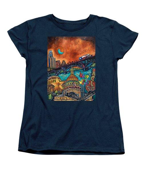 Women's T-Shirt (Standard Cut) featuring the painting Austin Montage by Patti Schermerhorn