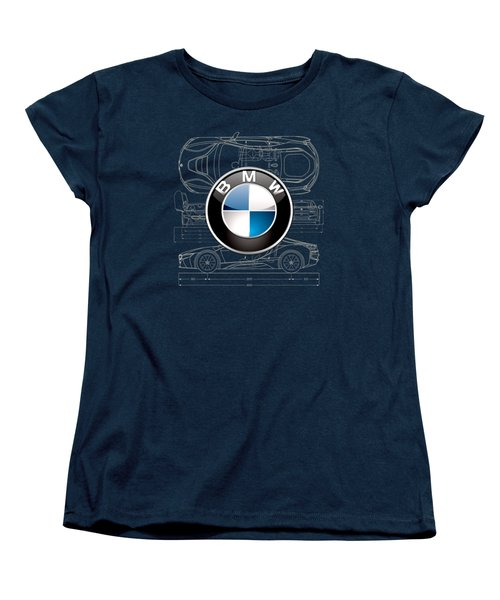 B M W 3 D Badge Over B M W I8 Blueprint  Women's T-Shirt (Standard Cut) by Serge Averbukh