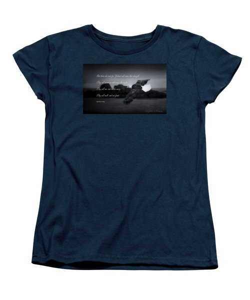 Women's T-Shirt (Standard Cut) featuring the photograph Bald Eagle In Flight With Bible Verse by John A Rodriguez