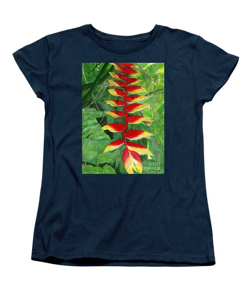Women's T-Shirt (Standard Cut) featuring the painting Balinese Heliconia Rostrata by Melly Terpening