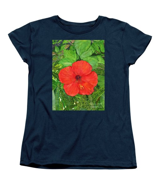 Women's T-Shirt (Standard Cut) featuring the painting Balinese Hibiscus Rosa by Melly Terpening
