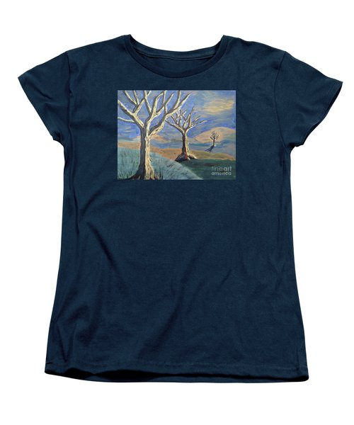 Women's T-Shirt (Standard Cut) featuring the painting Bare Trees by Judy Via-Wolff