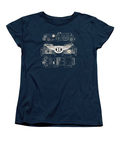 Bentley - 3 D Badge Over 1930 Bentley 4.5 Liter Blower Vintage Blueprint Women's T-Shirt (Standard Cut) by Serge Averbukh