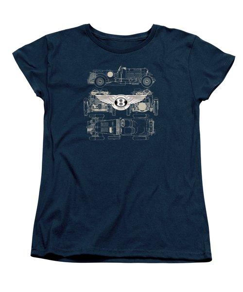 Bentley - 3 D Badge Over 1930 Bentley 4.5 Liter Blower Vintage Blueprint Women's T-Shirt (Standard Cut)