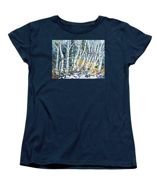 Birches Pond Women's T-Shirt (Standard Cut) by AmaS Art