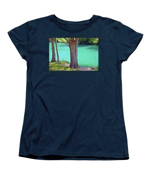 Blanco River Texas Women's T-Shirt (Standard Cut) by Ray Shrewsberry