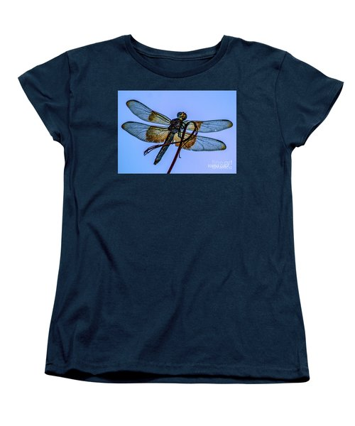 Blue Dragonfly Women's T-Shirt (Standard Cut) by Toma Caul