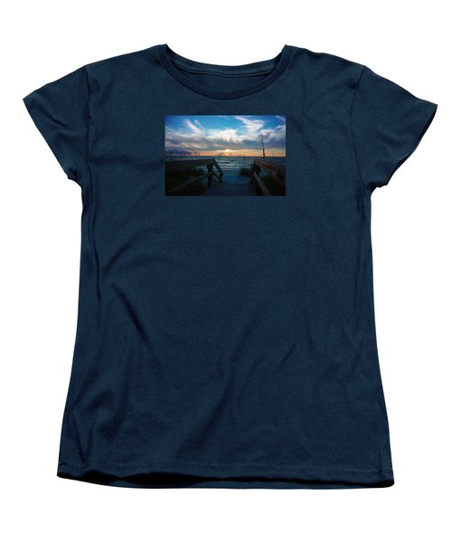 Boardwalk At Delnor-wiggins Pass State Park Women's T-Shirt (Standard Cut) by Robb Stan