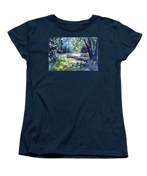 Women's T-Shirt (Standard Cut) featuring the painting Boat by Kovacs Anna Brigitta