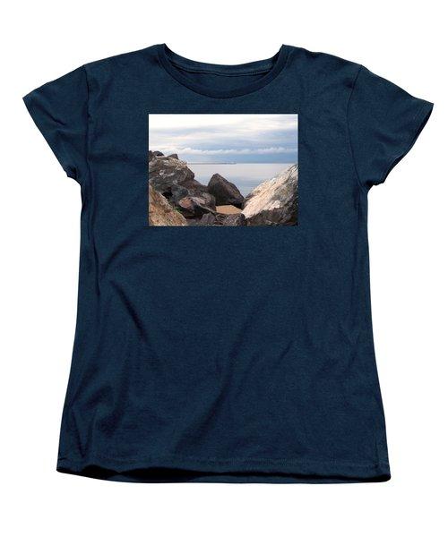 Break Wall On Lake Superior Women's T-Shirt (Standard Cut) by Phil Perkins