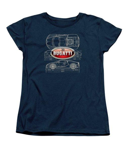 Bugatti 3 D Badge Over Bugatti Veyron Grand Sport Blueprint  Women's T-Shirt (Standard Cut)