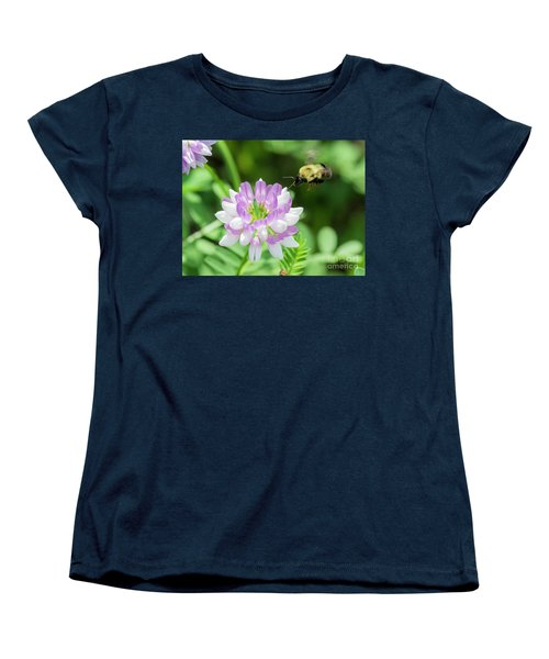 Bumble Bee Pollinating A Flower Women's T-Shirt (Standard Cut) by Ricky L Jones