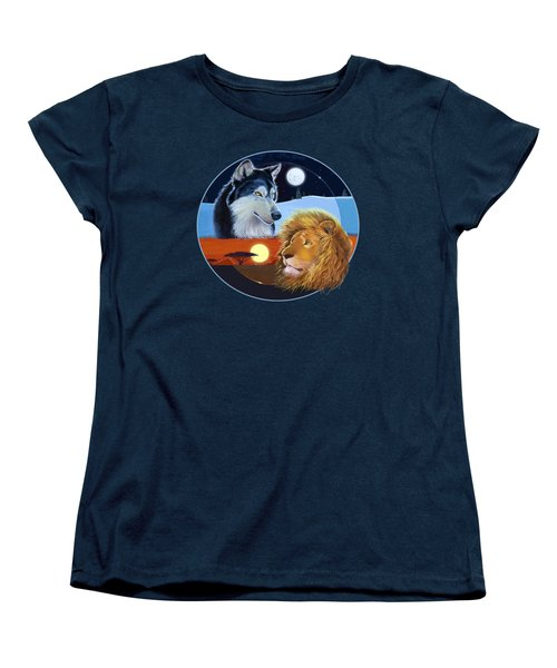 Women's T-Shirt (Standard Cut) featuring the mixed media Celestial Kings Circular by J L Meadows