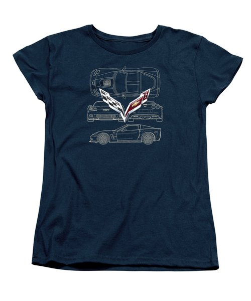 Chevrolet Corvette 3 D Badge Over Corvette C 6 Z R 1 Blueprint Women's T-Shirt (Standard Cut) by Serge Averbukh