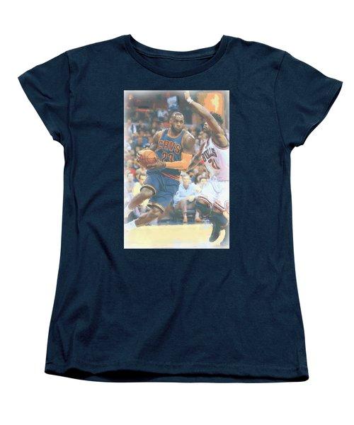 Cleveland Cavaliers Lebron James 2 Women's T-Shirt (Standard Cut) by Joe Hamilton