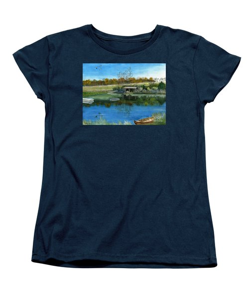 Women's T-Shirt (Standard Cut) featuring the painting Cole Hill Pond by Melly Terpening
