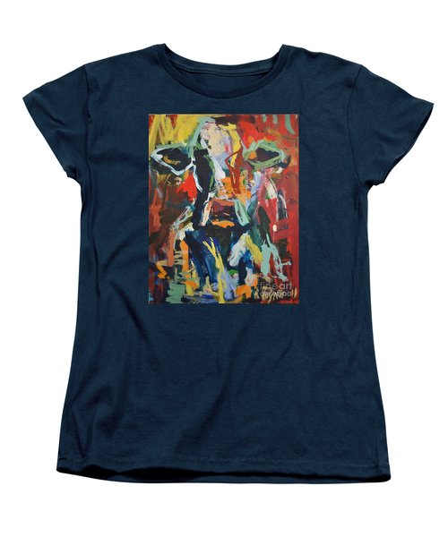 Women's T-Shirt (Standard Cut) featuring the painting Cow Painting by Robert Joyner