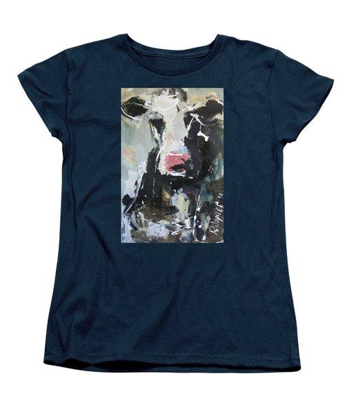 Women's T-Shirt (Standard Cut) featuring the painting Cow Portrait by Robert Joyner