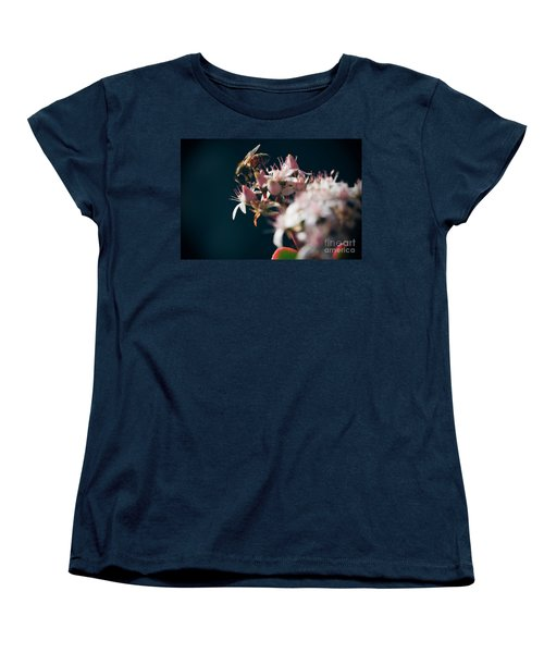Women's T-Shirt (Standard Cut) featuring the photograph Crassula Ovata Flowers And Honey Bee  by Sharon Mau