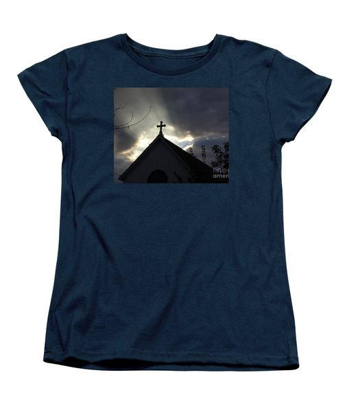 Cross In Sun Rays Women's T-Shirt (Standard Cut) by Debra Crank