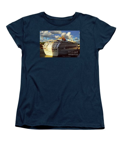 Women's T-Shirt (Standard Cut) featuring the photograph Cruise Ship In Port by Gary Wonning