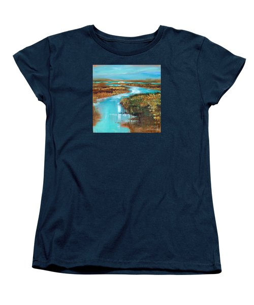 Women's T-Shirt (Standard Cut) featuring the painting Curve In The Waterway by Linda Olsen