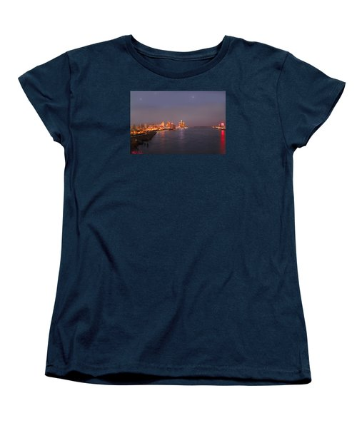 Women's T-Shirt (Standard Cut) featuring the photograph Detroit Skyline At Night by Michael Rucker