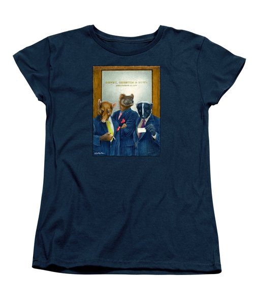 Women's T-Shirt (Standard Cut) featuring the painting Dewey, Cheetum And Howe... by Will Bullas