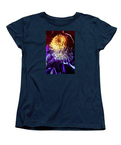 Dying Purple Chrysanthemum Flower Background Women's T-Shirt (Standard Cut) by John Williams