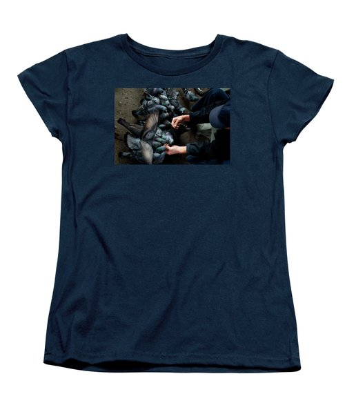 Feeding The Pigeons Women's T-Shirt (Standard Cut) by James David Phenicie