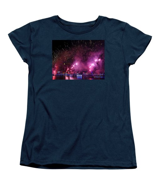 Women's T-Shirt (Standard Cut) featuring the photograph Fireworks Along The Love River In Taiwan by Yali Shi
