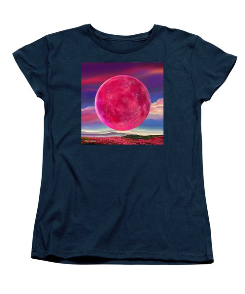 Women's T-Shirt (Standard Cut) featuring the digital art Full Pink Moon by Robin Moline