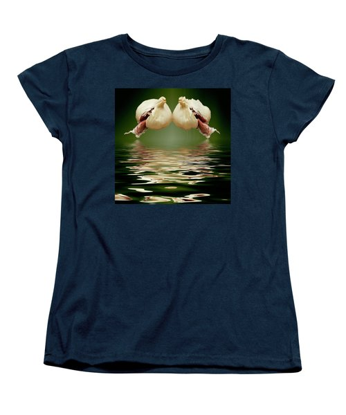 Women's T-Shirt (Standard Cut) featuring the photograph Garlic Cloves Of Garlic by David French